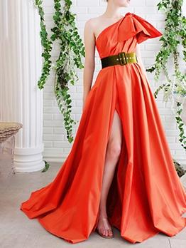 Inclined Shoulder Floor Length Evening Maxi Dress