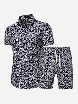 Chinese Style Printed Shirt Men Activewear Sets