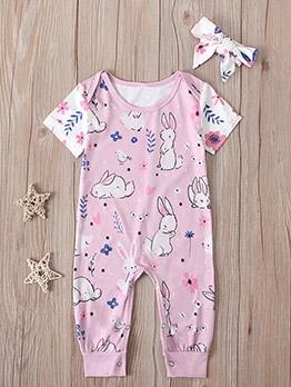 Cute Rabbit Printed Baby Girl Sleepsuits