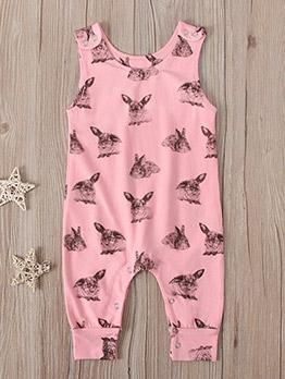 Adorable Rabbit Printing Sleeveless Baby Sleepsuits