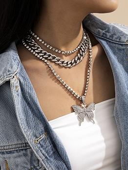 Silver Vintage Rhinestone Butterfly Cuba Necklace