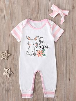 Fashion Rabbit Short Sleeve Baby Girl Sleepsuits