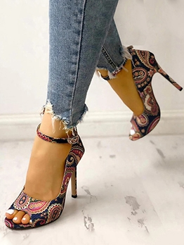 Peep-Toe Printed High Heel Ladies Sandal
