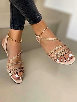 Chic Round Toe Rhinestone Summer Sandals