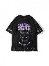 Loose Cat Printed Couple T Shirt