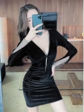 Fashion Solid Zipper Long Sleeve Bodycon Dress