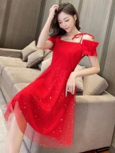 Glitter Gauze Patchwork Short Sleeve Summer Dresses