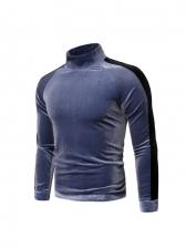 Turtle Neck Solid Long Sleeve Mens Sweatshirts