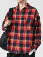 Chic Color Block Checkered Long Sleeve Shirts