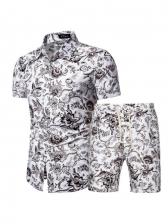 Chinese Style Printed Shirt Men Activewear Sets