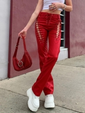Solid Trendy High Waist Drawstring Straight Pants