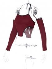 Halter Tank Top With Detachable Sleeve Shirt Women