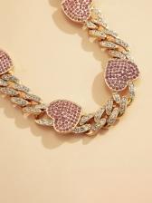 Hip Hop Rhinestone Heart Women Necklace