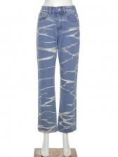 Street Contrast Color High Waist Denim Jeans