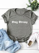 Letter Short Sleeve Plus Size T Shirt
