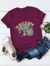 Dinosaur Cotton Plus Size Short Sleeve Tee