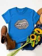 Contrast Color Short Sleeve Cotton T Shirt