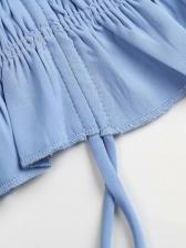 Stringy Selvedge French Solid V Neck Blouse