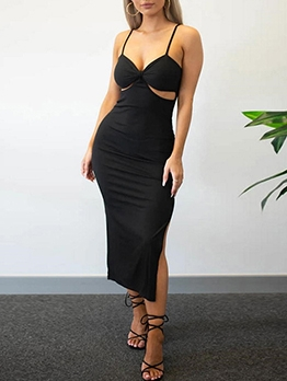 Sexy Solid Hollow Out Camisole Dress