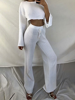 Stylish Solid Knitted Two Piece Sets Clothing