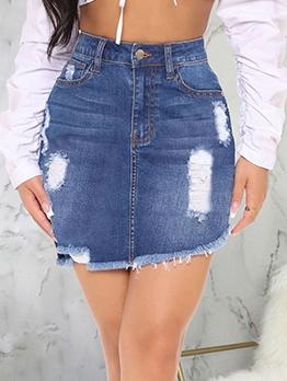 Raged Hem Ripped Ladies Denim Skirt