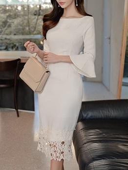 Elegant Solid Lace Patchwork Ladies Dress