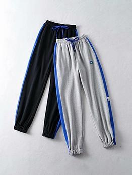 Contrast Color Drawstring Jogger Pants