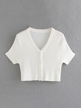 New V Neck Solid Short Sleeve T Shirt