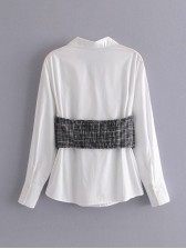 Paid Patchwork Long Sleeve Blouses For Women