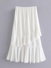 Ruffled Lace Patchwork Slit White Skirt
