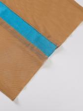 Gauze Contrast Color Midi Halter Maxi Dress