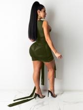 Crew Neck Tied Design Sleeveless Bodycon Dress
