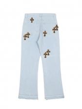 Hip Pop Printed Flare Denim Jeans