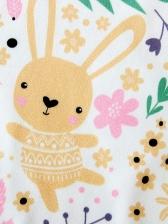 Fashion Printed Rabbit Short Sleeve Baby Sleepsuits