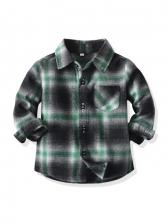 Color Block Plaid Long Sleeve Boy Shirt