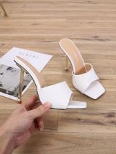 Simple Square Neck Slip On Slipper Stiletto