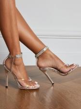 Fashion Rhinestone Square Toe Sandals For Women