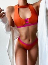 Latest Contrast Color Simple Sexy Bikini Swimsuits