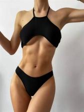 Solid Simple Beach Tank Bikini Sets For Ladies