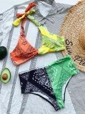 Contrast Color Print Halter Bikini Sets Women