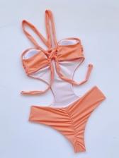 Pure Color Sexy Halter On Pieces Swimwear