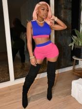 Contrast Color Sleeveless Short Pants Sets Women