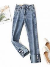 Spring Solid High Waist Denim Jeans