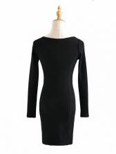 Square Black Long Sleeve Short Dress
