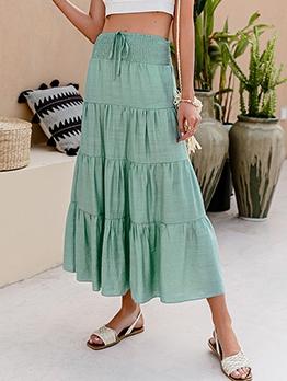 Fashion Solid Maxi A Line Skirt