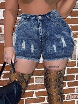 High Waist Slim Denim Short Pants For Women