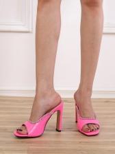 Euro Rhinestone Square Toe Heeled Slipper Shoes