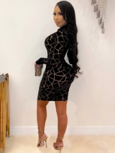 Fashion Printed Women Long Sleeve Bodycon Dress