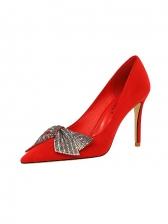 Night Club Rhinestone Bow High Heel Shoes