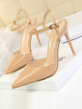 Chic Pointed Closed Toe Ankle Strap Heels
